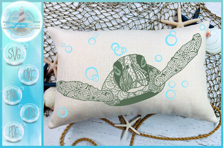 Sea Turtle Mandala Swimming with Bubbles SVG example image 1