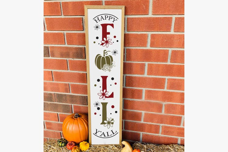 Happy Fall Y'all, Fall Porch Sign, Autumn Porch Sign SVG example image 1