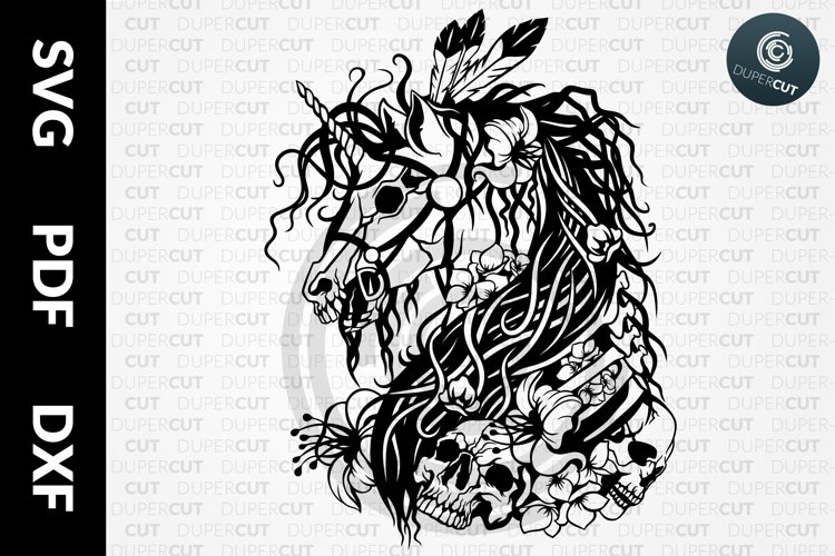 SVG / PDF / DXF Zombie Unicorn, Papercutting Template example image 1
