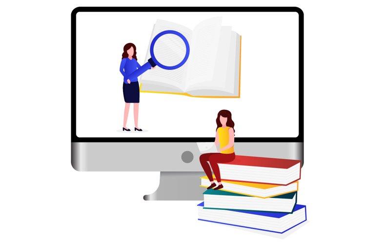 Illustration of someone studying online example image 1
