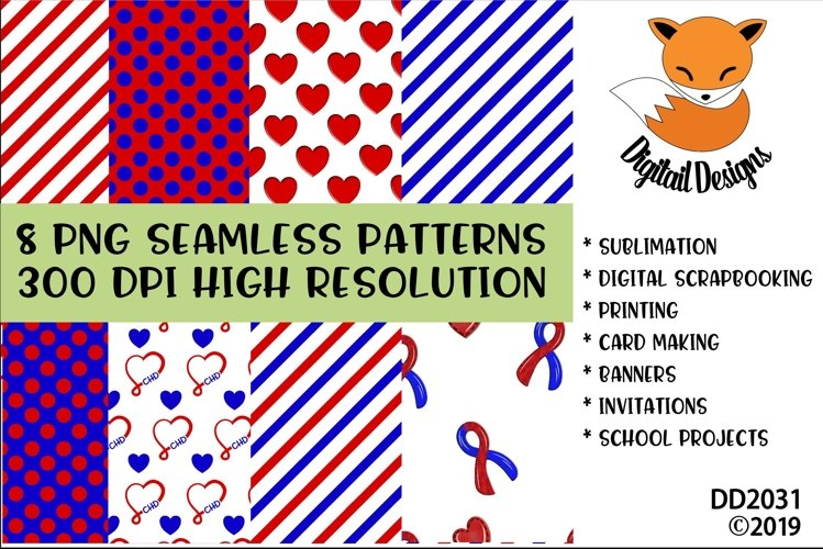 Congenital Heart Defect Awareness Digital Paper Pack example image 1