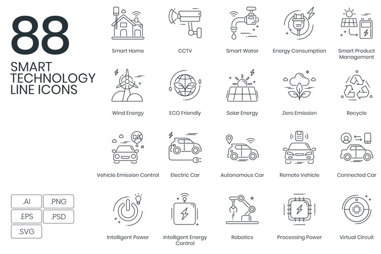 Smart Technology Line Icons example image 1