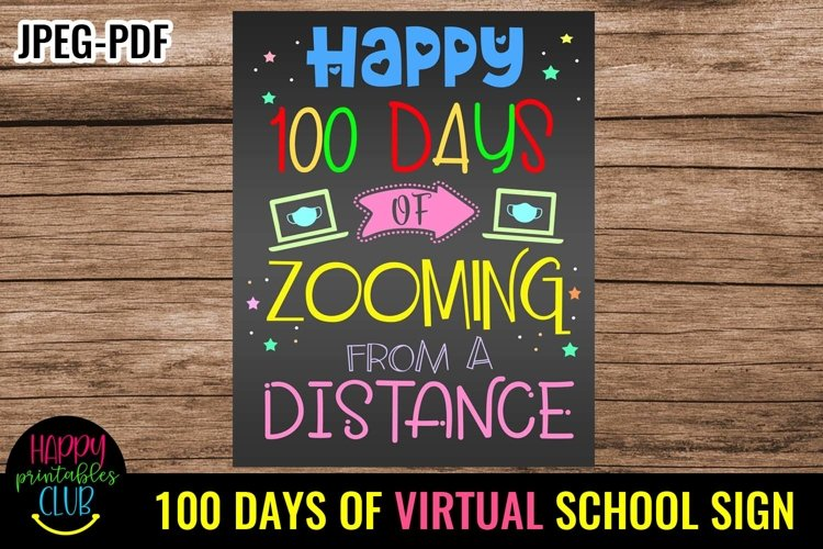 100 Days of Zooming Sign- 100 Days of School Sign Poster example image 1