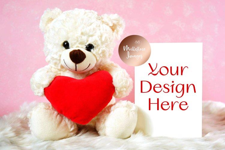 Mothers Day Valentine Greeting Card Teddy Bear Mockup Photo