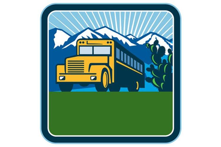 School Bus Cactus Mountains Square Retro example image 1