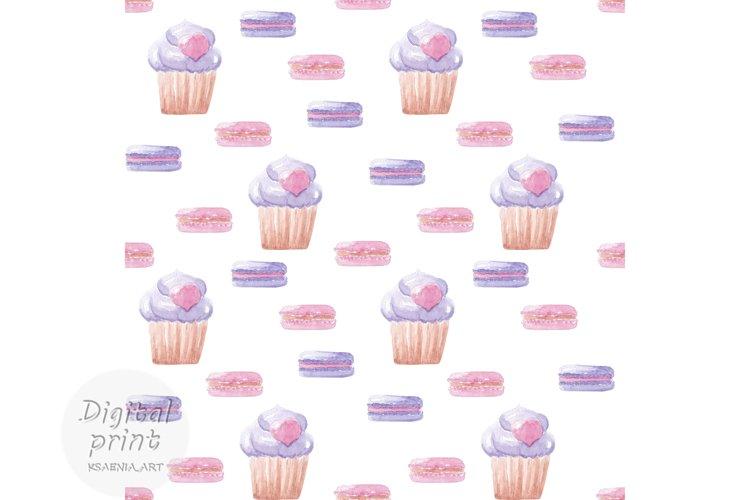 Watercolor seamless pattern Sweet cakes digital paper