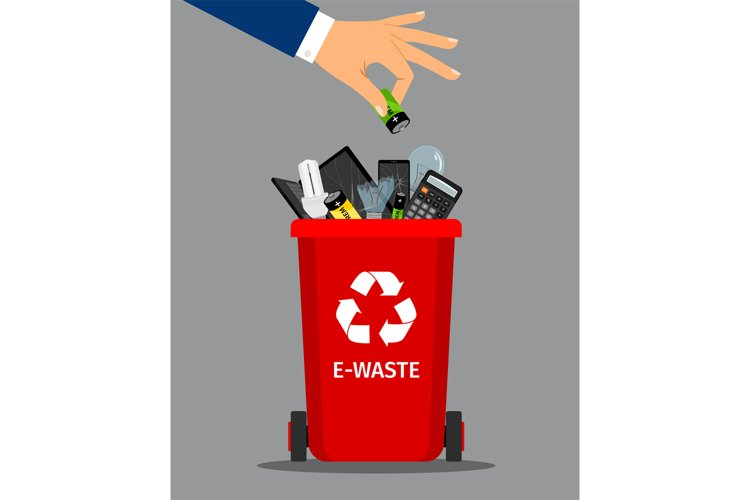 Businessman hand put battery in trash example image 1