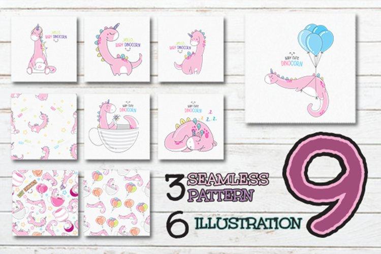 set of cute dinosaurs collection