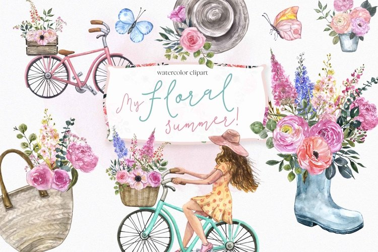 Watercolor Spring Summer garden Clipart Bicycle Flowers