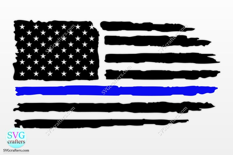 American Police svg, thin blue line svg, police officer svg example image 1
