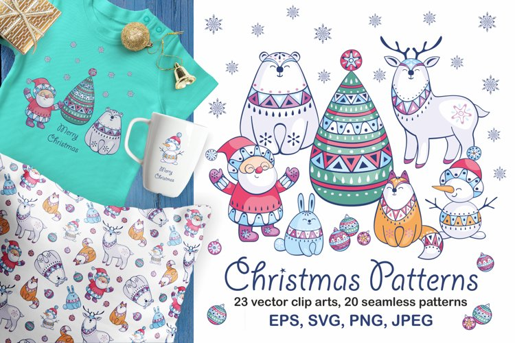 Christmas patterns and clip arts