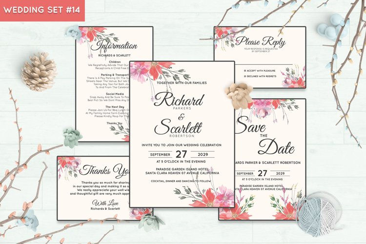 Wedding Invitation Set #14 Watercolor Floral Flower Style
