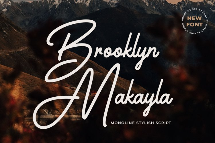 Monoline Script Font - Brooklyn Makayla example image 1