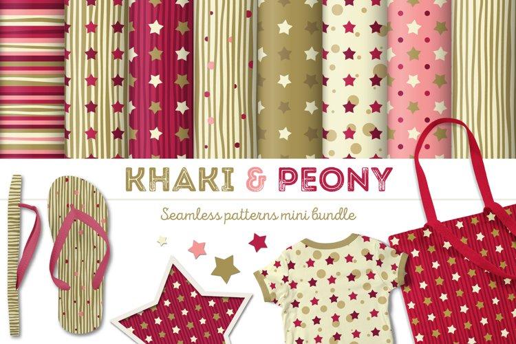Khaki & Peony Patterns Bundle   Seamless Digital Papers