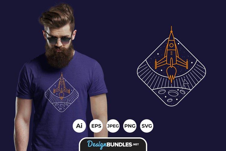 Vintage Rocket Line Art Illustrations for T-Shirt Design