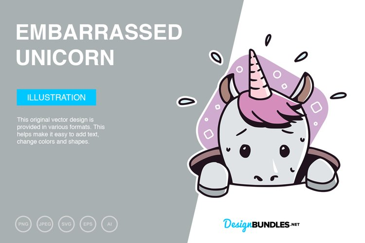 Embarrassed Unicorn Vector Illustration