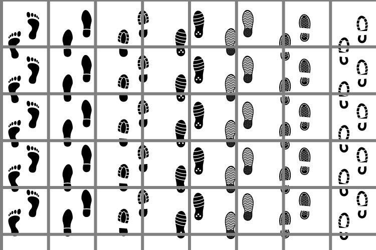 Footprints or sole SVG set for cut. Tread illustration example image 1