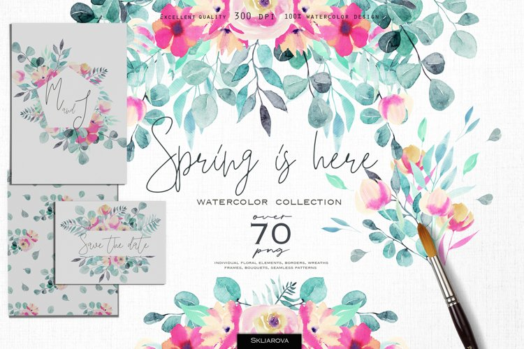 Spring is here. Watercolor collection.