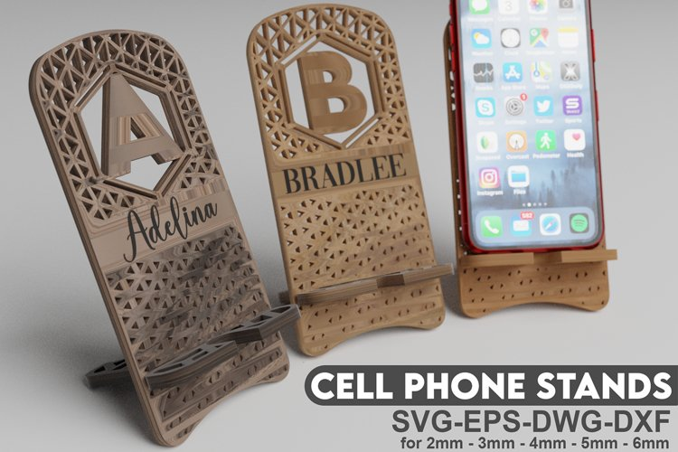 Cell Phone Stands - Alphabet A to Z - Cricut and Glowforge