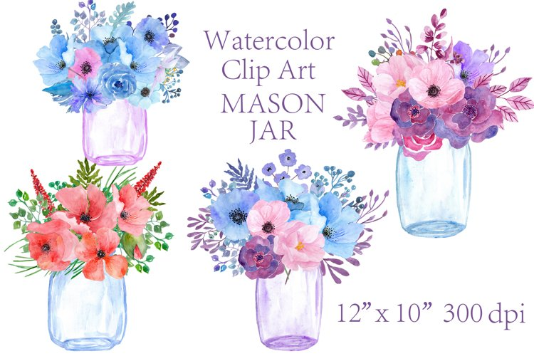 Watercolor floral  Mason Jars clipart