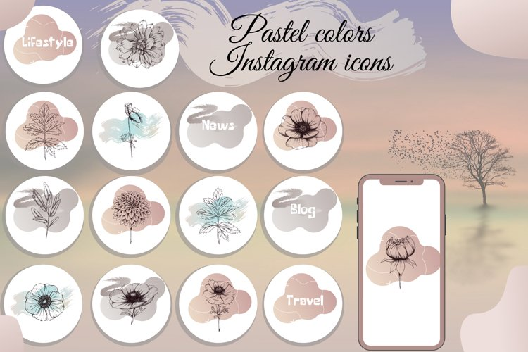 Pastel color Flower instagram highlight icons, aesthetic example image 1