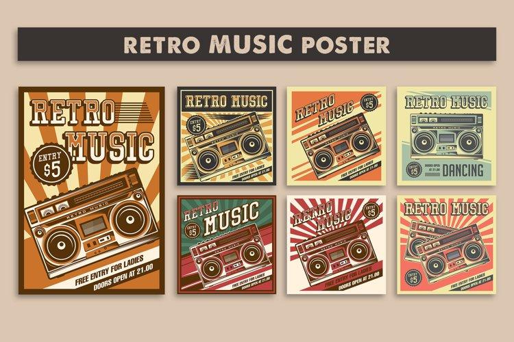 Retro Music Tape Recorder Radio Vintage Signage Poster example image 1
