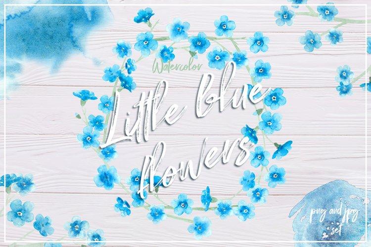 Watercolor little blue flowers