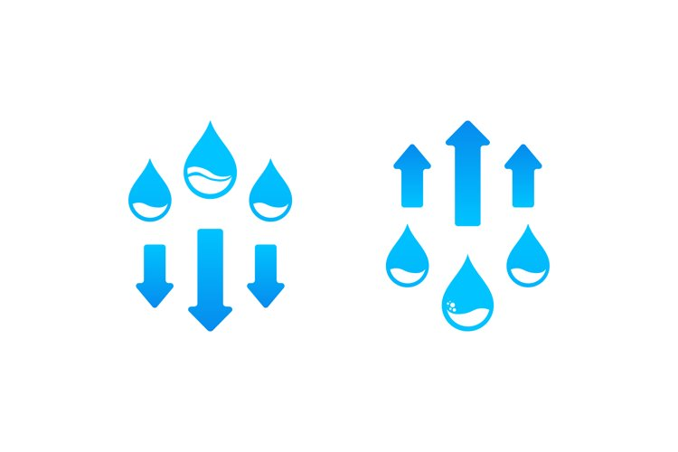 Humidity level up and down icon. Water cycle. Vector example image 1