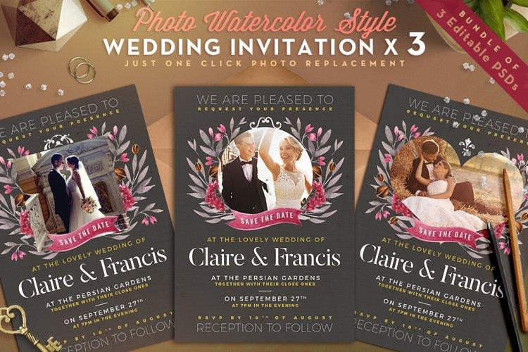 Photo Watercolor Wedding Invite II example image 1