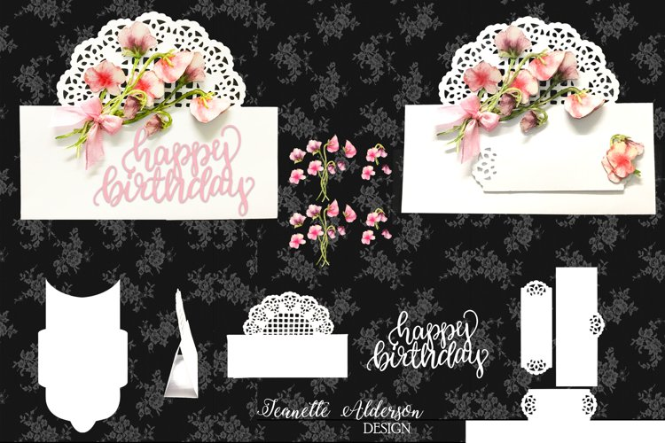 Over The edge card with Trellis and Sweet Pea decoupage example image 1