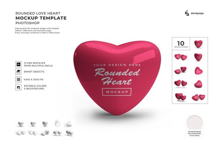 Rounded Valentine Heart Mockup Template Bundle