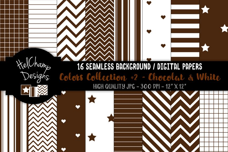 16 seamless Digital Papers - Chocolat and White- HC151 example image 1