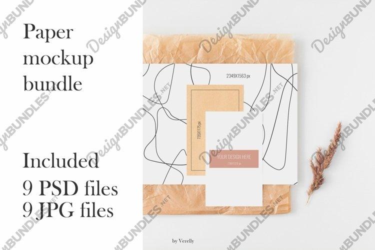 Paper cards mockups bundle