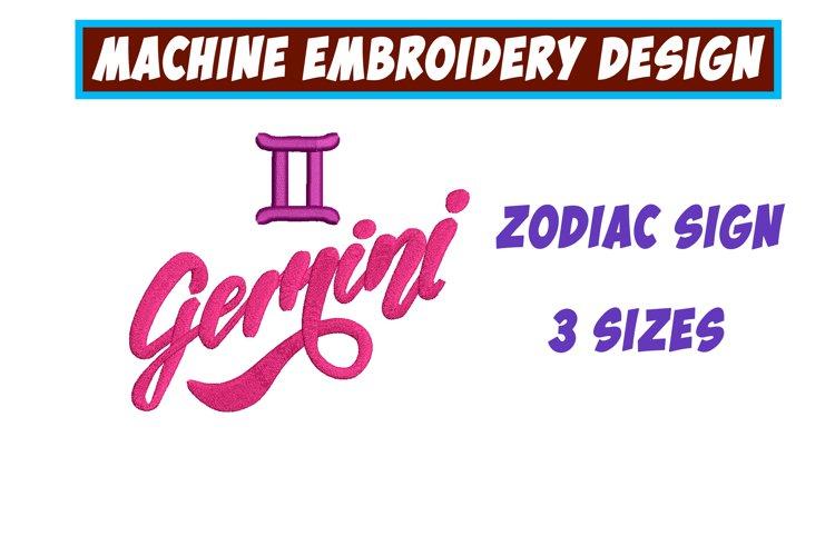 GeminiZodiac Sign - machine embroidery design example image 1