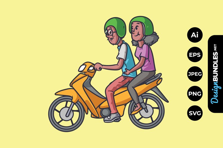 Married Couple Riding Motorcycle Illustrations