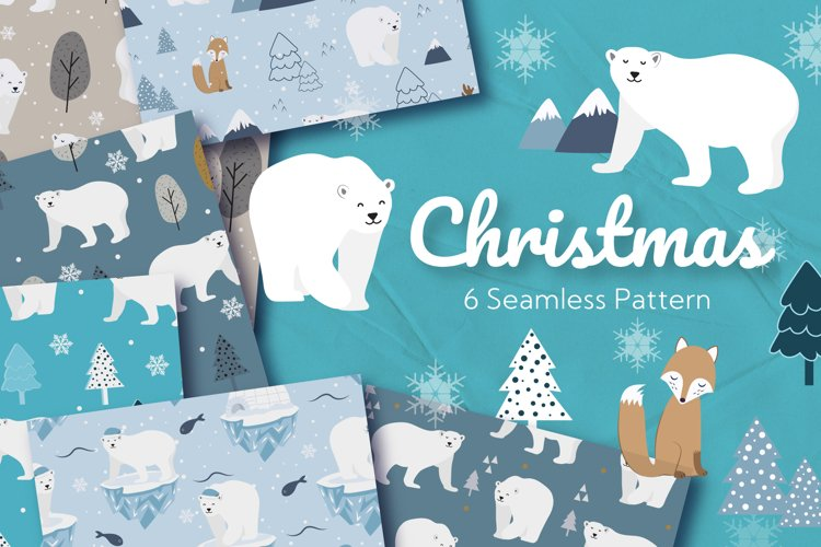 Christmas Polar Bear Seamless Pattern example image 1
