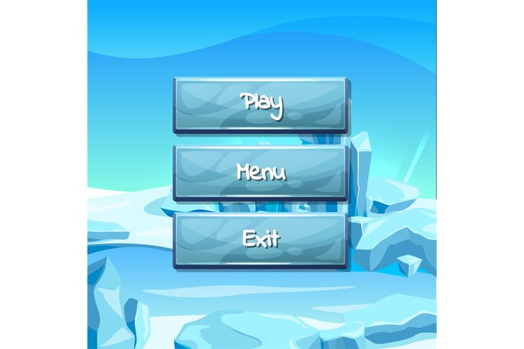 Vector cartoon style buttons ice example image 1