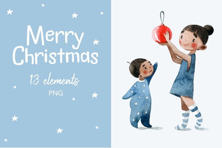 Elements of New Year and Christmas. Happy family. example image 1