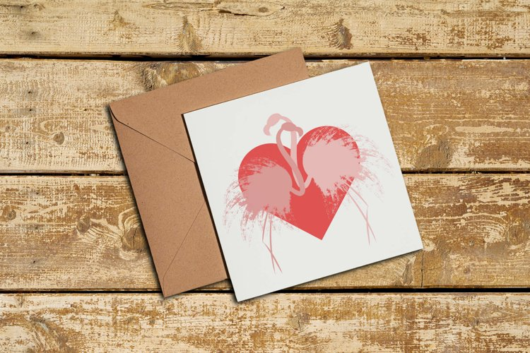Couple of pink silhouette flamingos in love. example image 1