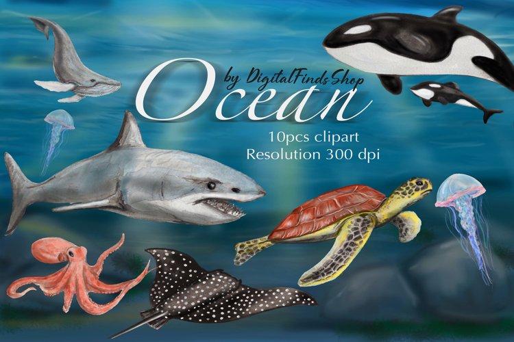 Ocean clipart, sea animals clipart, watercolor ocean