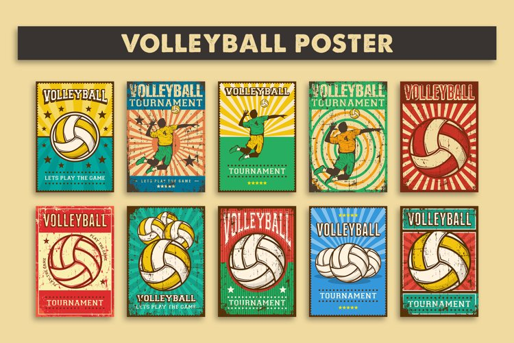 Retro Vintage Volleyball Poster