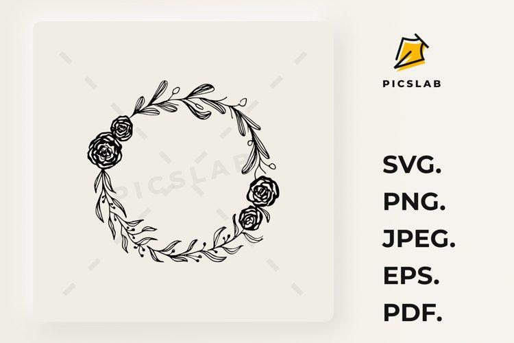 Hand drown olive branch, laurel wreath, wildflower monogram example image 1