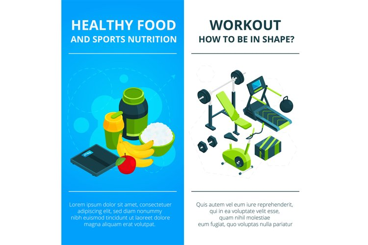 Banners set with illustrations of gym equipment and healthy example image 1