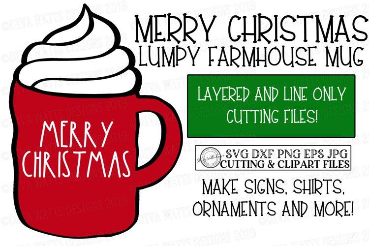 Merry Christmas Red Lumpy Farmhouse Mug - Cutting File example image 1