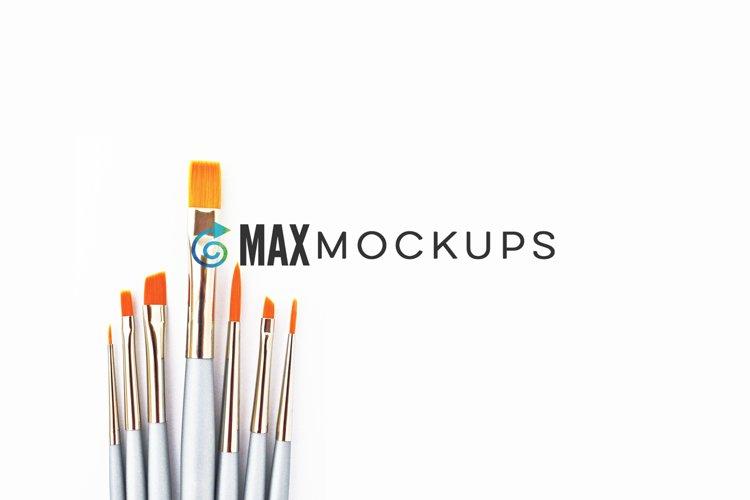 Paint brushes background Mockup, styled photography flatlay