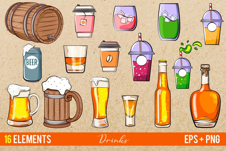 Drinks vector clipart, beer vector, alcohol clipart EPS