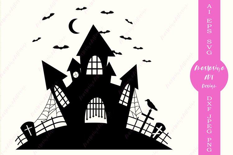 Haunted House Svg Halloween Svg Spooky Graveyard Dxf 708977 Illustrations Design Bundles