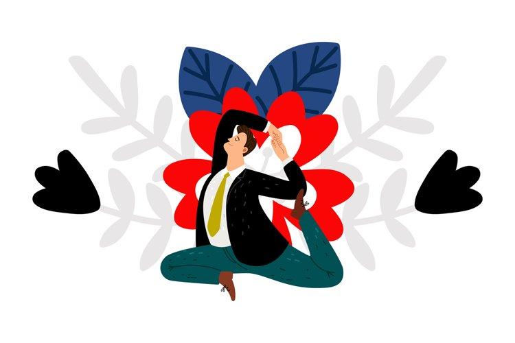 Businessman yoga exercises example image 1