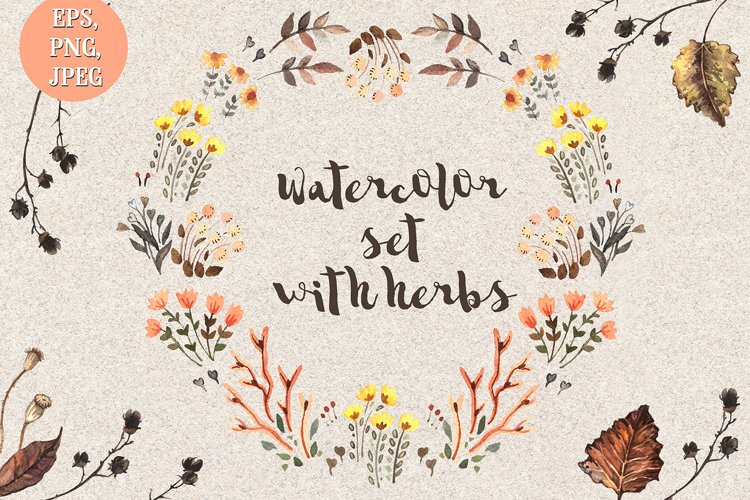 Watercolor set with hebs