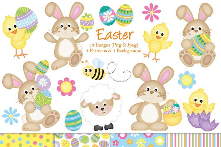 Easter clipart, Easter bunny graphics & illustrations example image 1